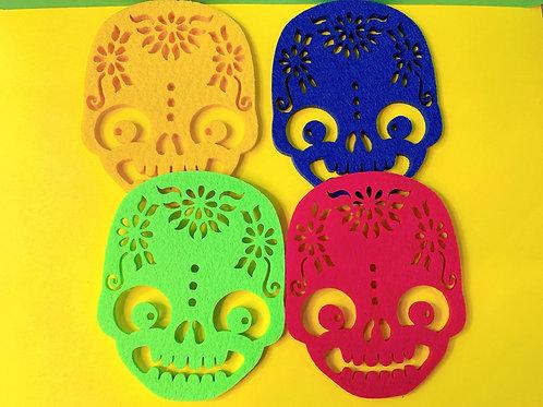 Sugar Skull felt coaster set
