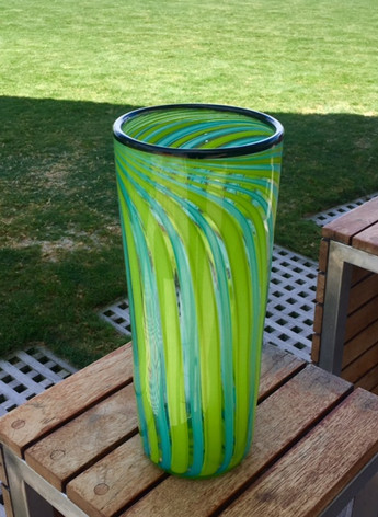 Blue/Green Stripe Vase