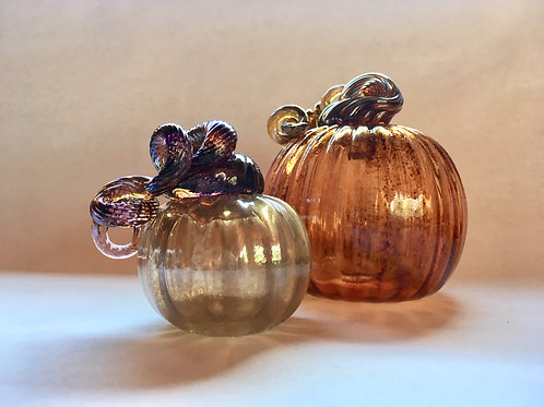 Set of 2 Orange and Gold Pumpkins