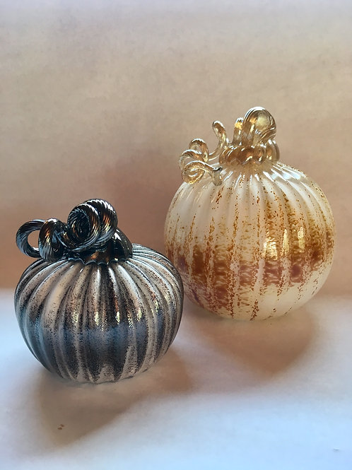 Set of 2 Black and Gold Pumpkins