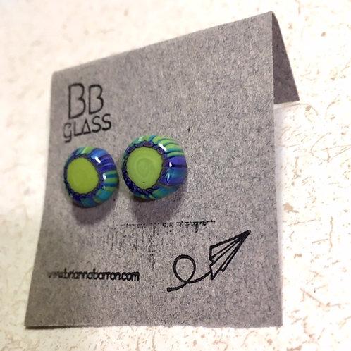 Green and Purple Earrings
