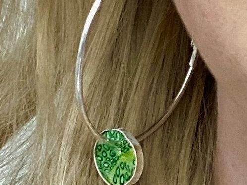 Green & Silver Hoop Earring