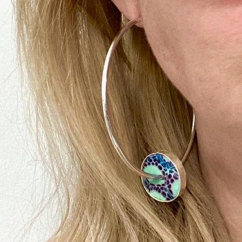 Purple and Blue Hoop Earring