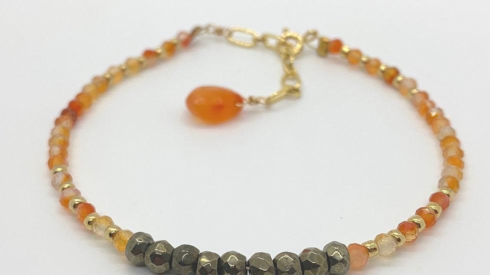 Carnelian and Pyrite Bracelet