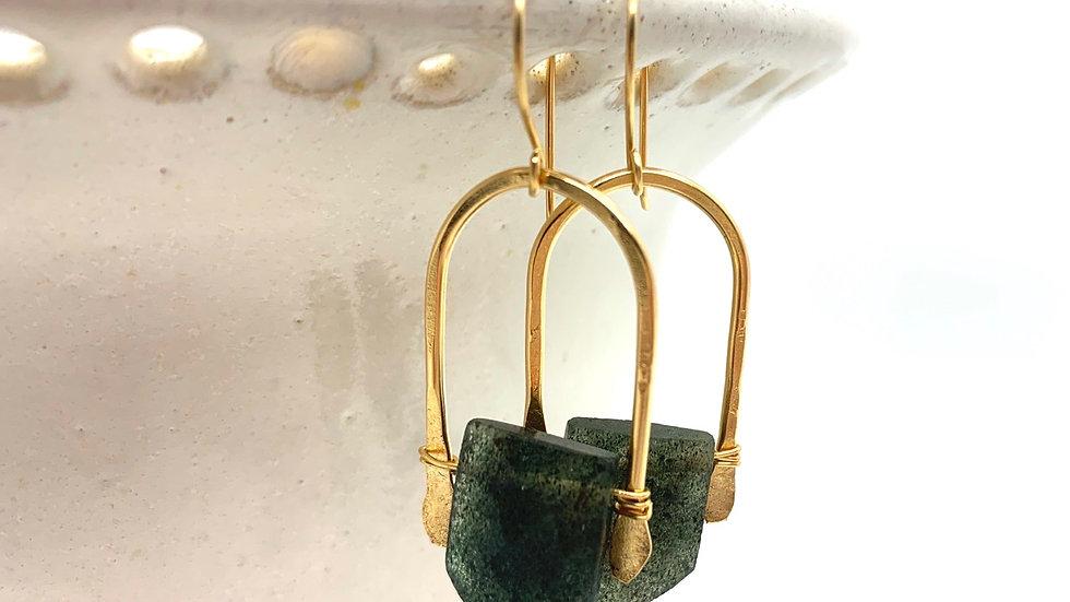 Moss Aquamarine Wishbone Earring