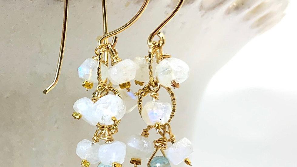 Moonstone and Aquamarine Cascadia Earrings