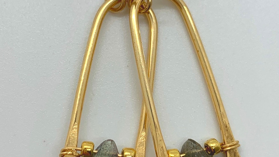 Golden Wishbones with faceted Labradorite- midi size