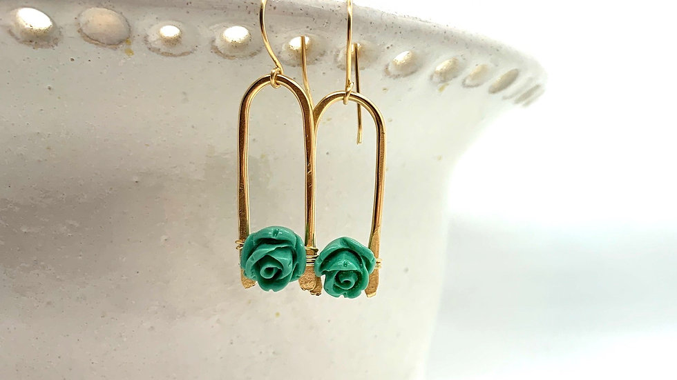 Carved Turquoise Rose Wishbones #2