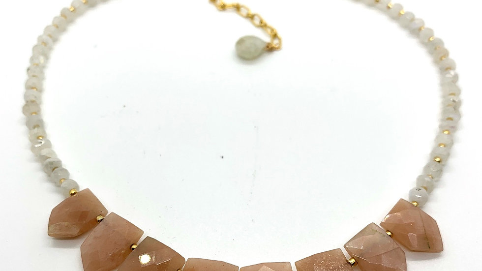 Pink Opal and Moonstone Collar