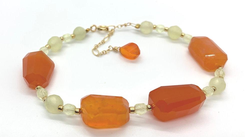 Carnelian and Prehnite Bracelet