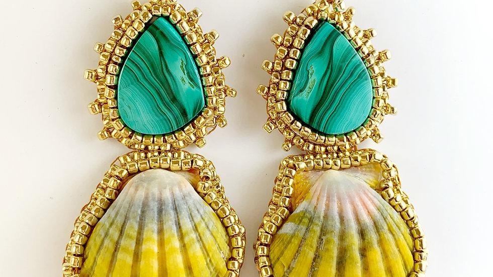 Kauai Sunrise Shell and Malachite Earrings
