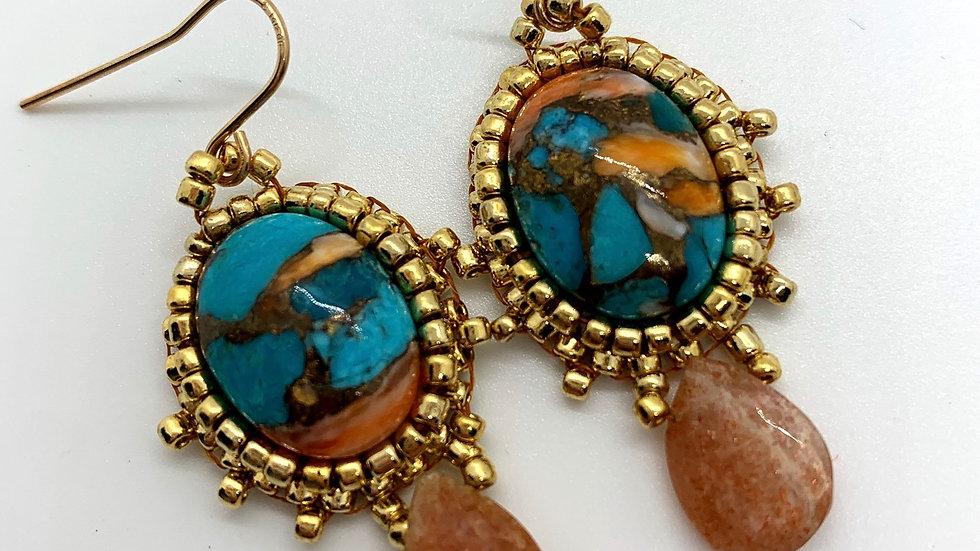 Kingman Turquoise➕Sunstone Earrings