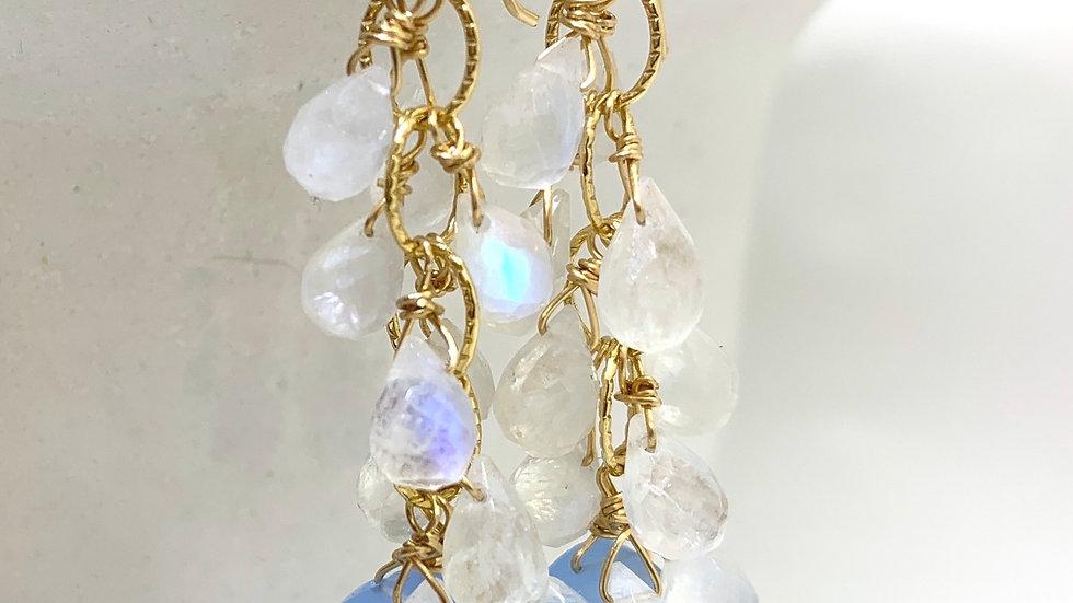 Moonstone and Chalcedony Cascadia Earrings