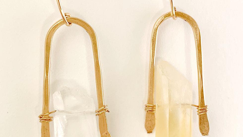 Golden Wishbone Earrings with Quartz Points