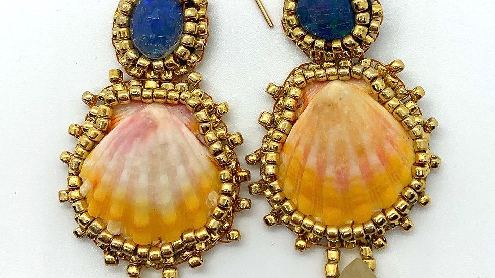 Opal➕Rutilated Golden Quartz➕Sunrise Shell Earrings