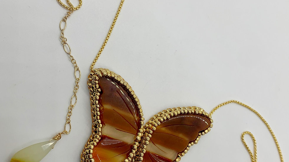 Agate Butterfly Necklace #5