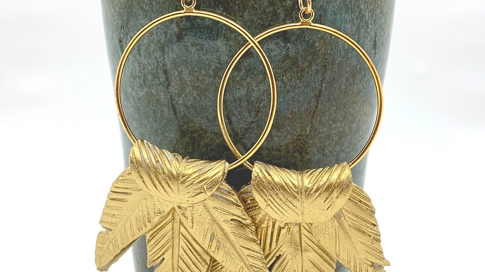 Golden Plume Hoops- large size