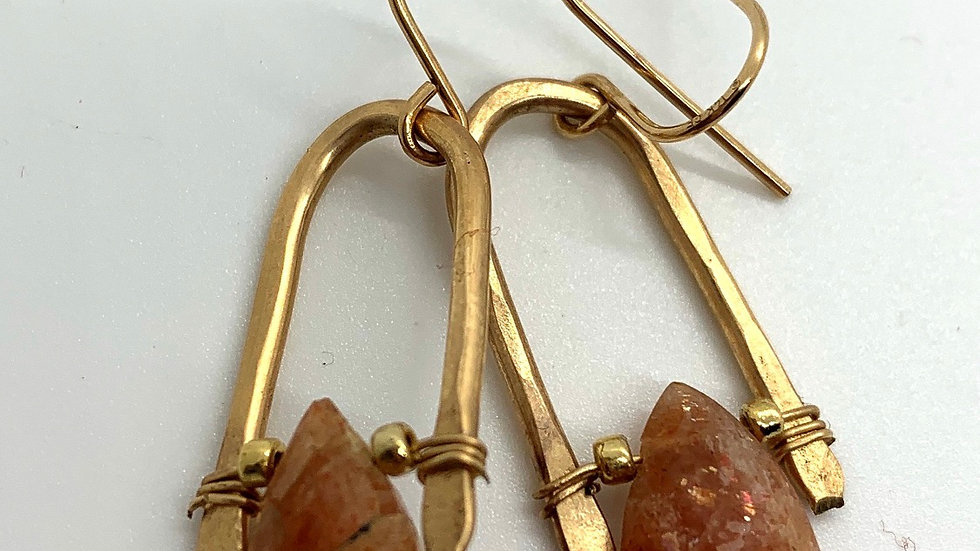 Golden Wishbone Earrings with Sunstone- mini
