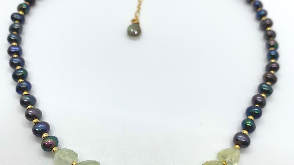 Prehnite and Peacock Pearl Necklace