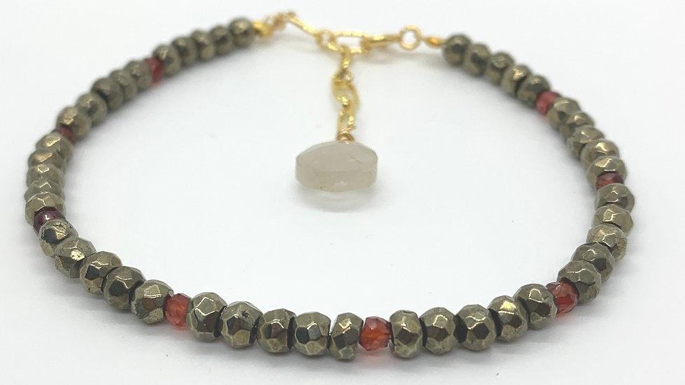 Pyrite and Garnet Bracelet
