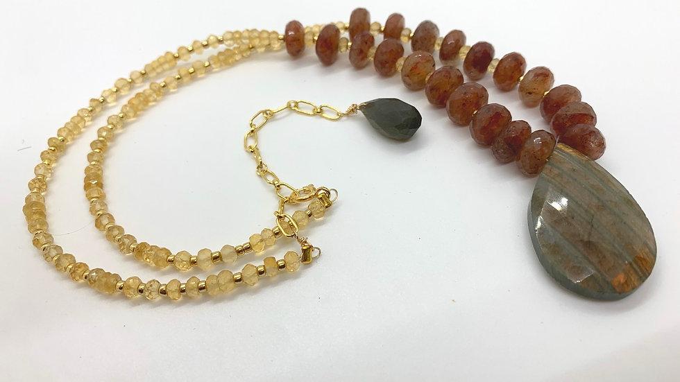 Labradorite and Strawberry Quartz Necklace