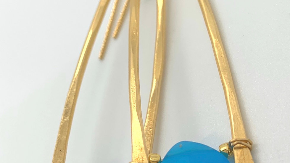 Chalcedony Wishbone Earrings- size L