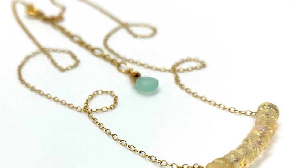 Fire Opal Bar Necklace