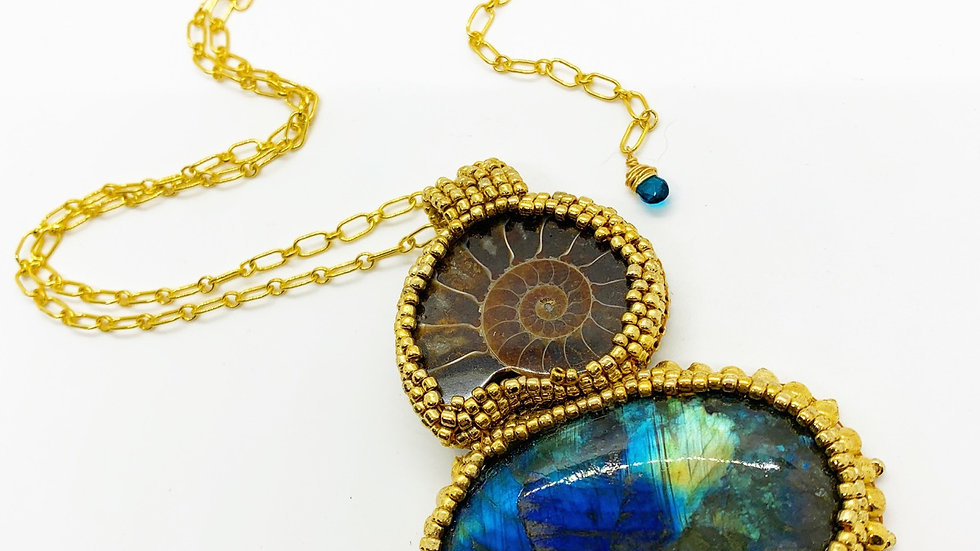 Ammonite and Labradorite Statement Necklace