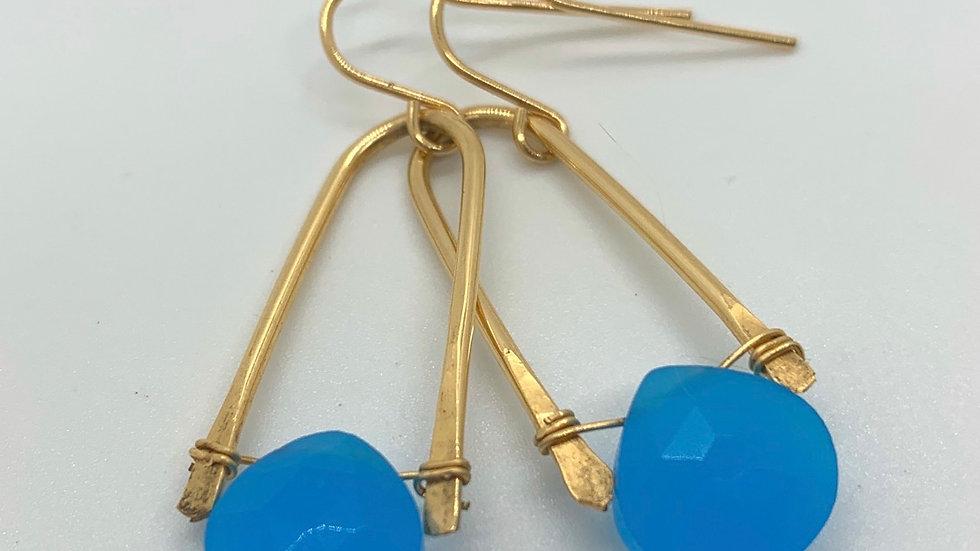 Golden Wishbone Earrings with Chalcedony- midi