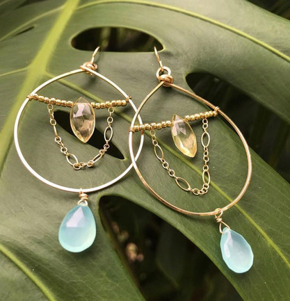 Golden Gemstone Hoops
