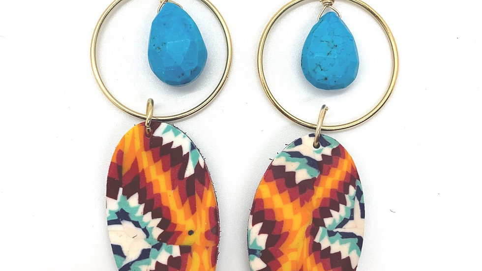 High Desert Petal Hoops with Turquoise