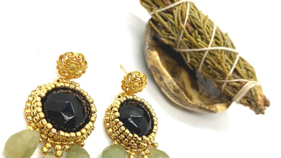 Moss Agate and Onyx Earrings