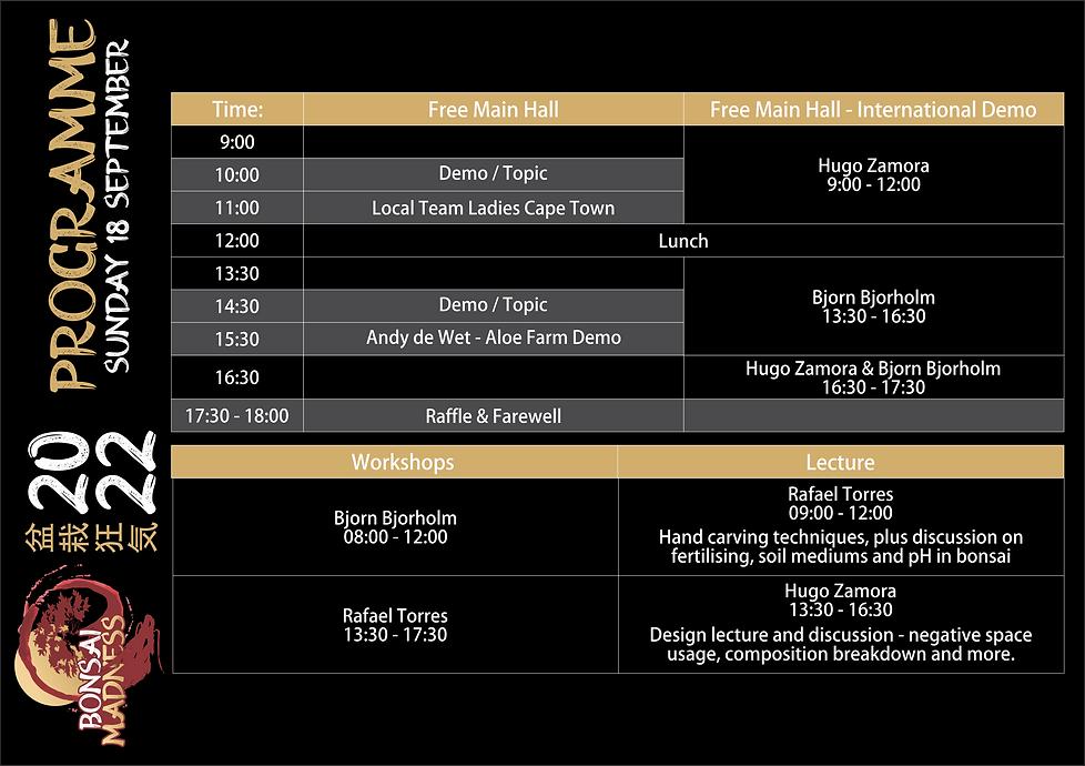 Bonsai Madness - Programme - 04 - Sunday
