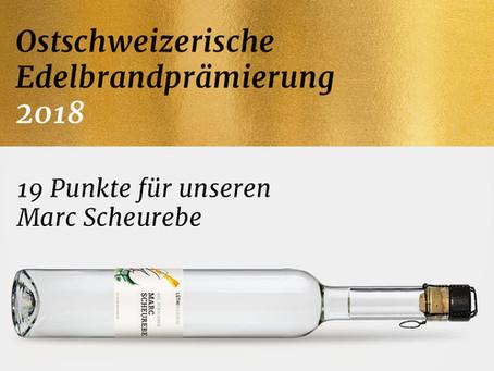 Auszeichnung an der 9. Ostschweizerischen Edelbrandprämierung