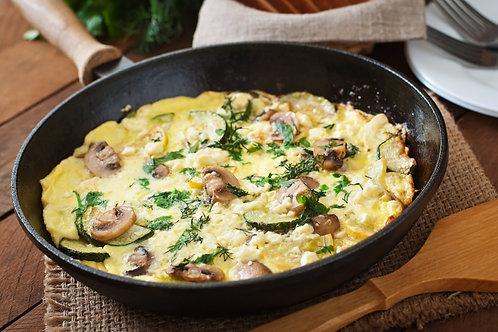 Opción 2: Huevos Revueltos con Jamón y  Champiñones