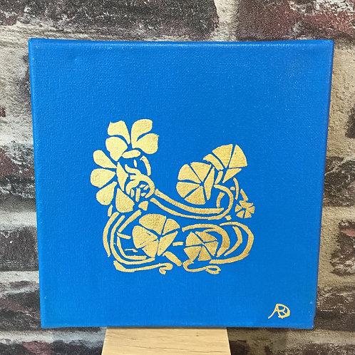 Fleurs en or et bleu Art déco