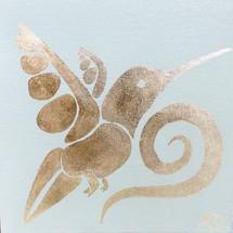 oiseau blanc et feuille d'or
