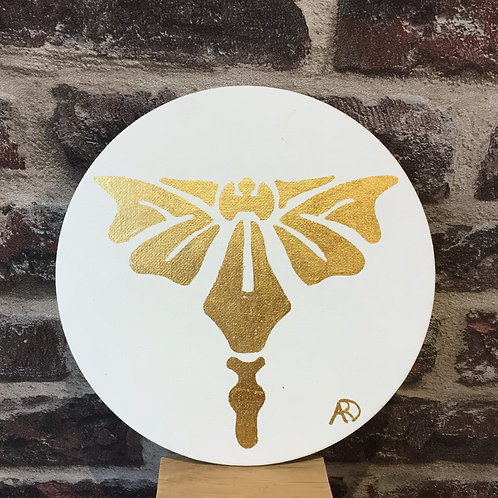 Médaillon papillon or Art déco