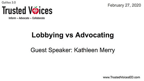This module walks us through the difference between Lobbying and Advocating.  It is important as Trusted Voices we understand how to navigate through political landmines.