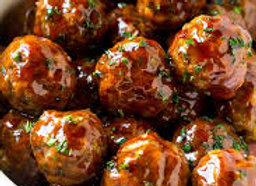 Sweet Chili Chicken Meatballs with Organic Brown Rice and Roasted Asparagus