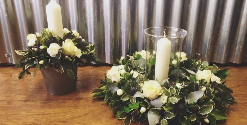 Pair of White Candle Arrangements