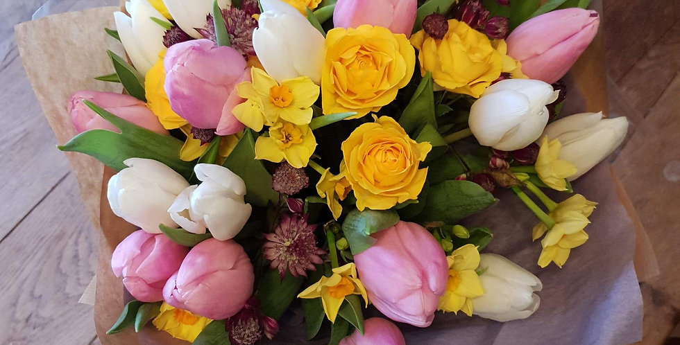 Pink, White & Yellow Spring Bouquet