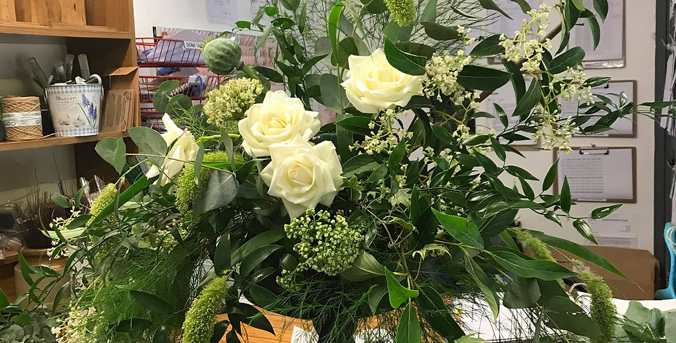 White And Green Urn Arrangement