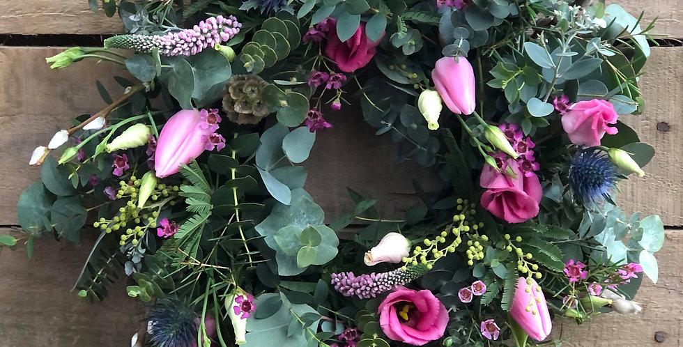 Pink Tulip Sympathy Wreath