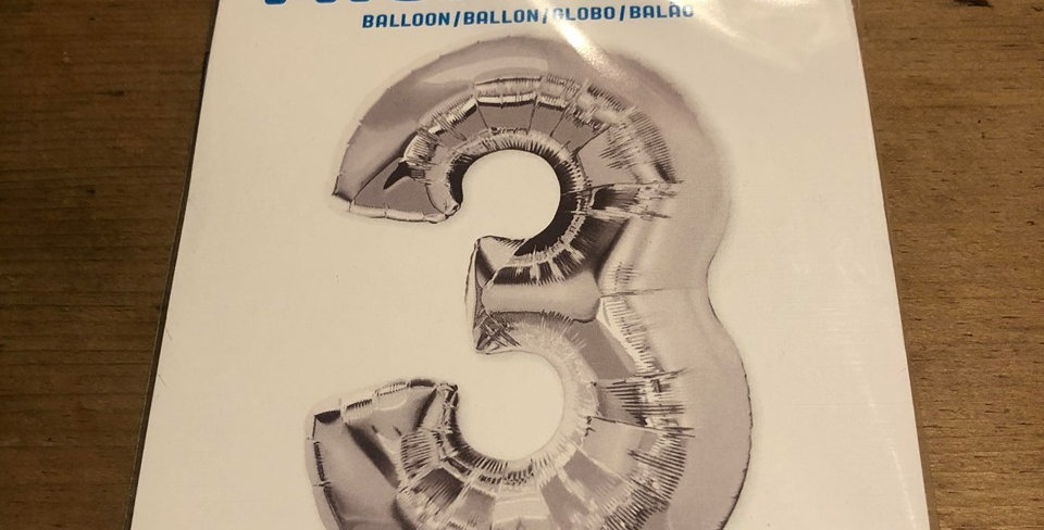 3 Large Number Helium Balloon (Silver)