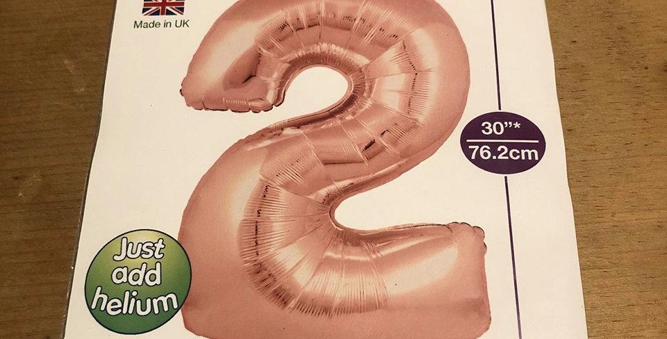 2 Large Number Helium Balloon (Pink)