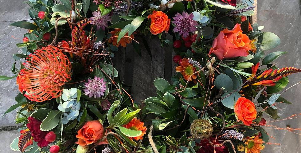 Orange And Red Sympathy Wreath