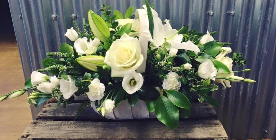 White Rose And Lily Sympathy Basket