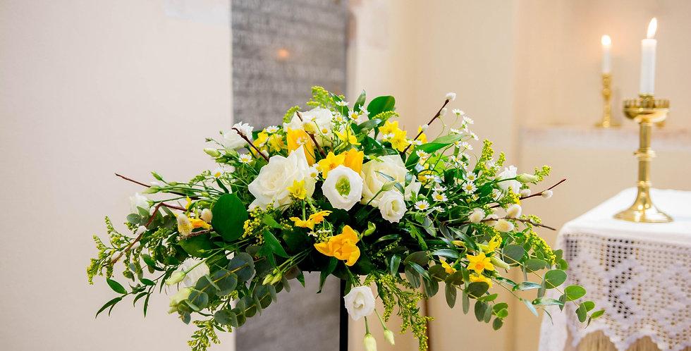 White And Yellow Pedestal Arrangement