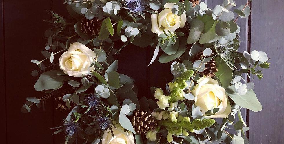 White Rose and Eucalyptus Wreath